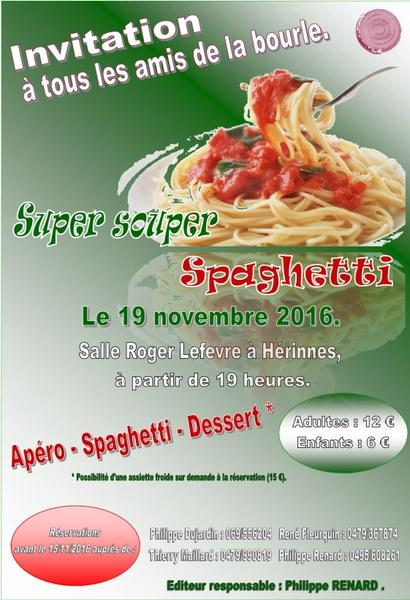 Affiche  souper spaghetti Bourleux 2016